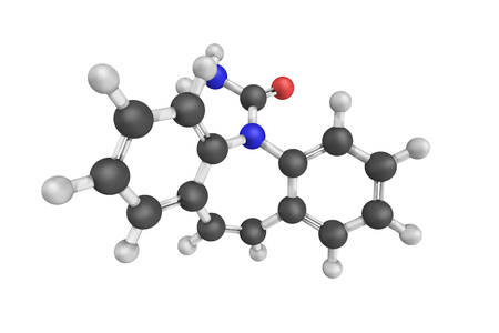 Carbamazepina, un medicamento utilizado principalmente en el tratamiento de la epilepsia y el dolor neuropático. Se usa en la esquizofrenia junto con otros medicamentos y como un agente de segunda línea en el trastorno bipolar.
