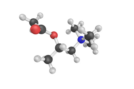 Methacholine, a synthetic choline ester that acts as a non-selective muscarinic receptor agonist in the parasympathetic nervous system. Stock Photo