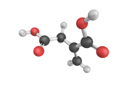Itaconic acid, also known as methylenesuccinic acid, historically obtained by the distillation of citric acid. Stock Photo