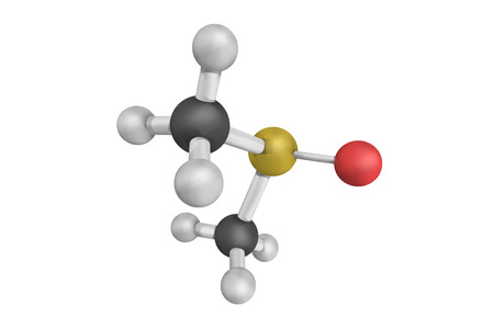Dimethyl sulfoxide, a colorless liquid and an important polar aprotic solvent that dissolves both polar and nonpolar compounds and is miscible in a wide range of organic solvents as well as water. Stock Photo