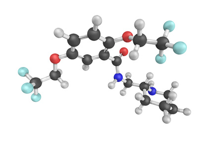fibrillation: Flecainide acetate, used to prevent and treat tachyarrhythmias (abnormal fast rhythms of the heart). Works by regulating the flow of sodium in the heart. Stock Photo