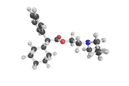 hydrochloride: Drofenine, a spasmolytic agent. 3d model. Stock Photo