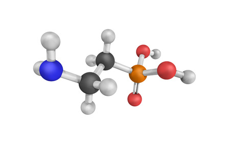 Ciliatine, also known as 2-aminoethylphosphonic acid. 3d model.