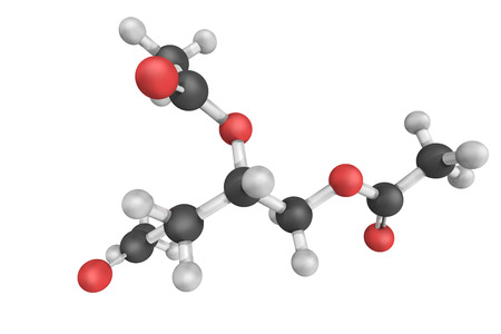 acetic acid: Triacetin, the triester of glycerol and acetylating agents, such as acetic acid and acetic anhydride. It is a colorless, viscous and odorless liquid. Stock Photo