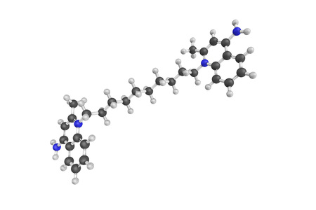 Dequalinium, a quaternary ammonium cation commonly available as the dichloride salt. The bromide, iodide, acetate, and undecenoate salts are known as well.