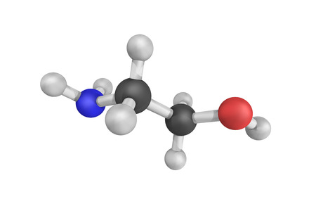 Ethanolamine, a colorless, viscous liquid with an odor reminiscent to that of ammonia. Its derivatives are widespread in nature, e.g., lipids. Stock Photo