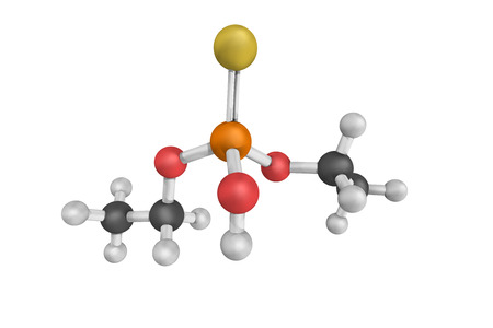 Diethylthiophosphoric acid, also known as DETP. 3d model. Stock Photo