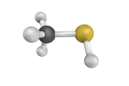 Methanethiol, one of the main compounds responsible for bad breath, a colorless gas with a distinctive putrid smell.