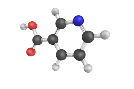 nicotinic: Nicotinic acid, used to treat high cholesterol and niacin deficiency. Also known as vitamin B3 and niacine, one of essential human nutrients. Stock Photo