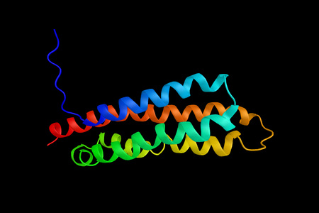 Protein tyrosine kinase 2 beta, an enzyme involved in calcium-induced regulation of ion channels and activation of the map kinase signaling pathway. 3d rendering.
