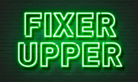 fixer upper: Fixer upper neon sign on brick wall background Stock Photo