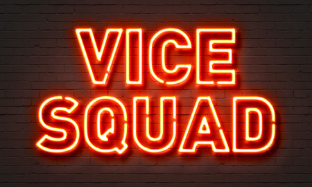 squad: Vice squad neon sign on brick wall background