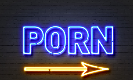 Porn Neon Sign On Brick Wall Background Stock Photo