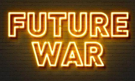 drones: Future war neon sign on brick wall background Stock Photo