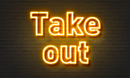 takeout: Takeout neon sign on brick wall background