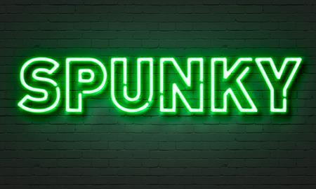 spunk: Spunky neon sign on brick wall background Stock Photo