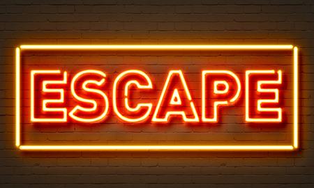 escape: Escape neon sign on brick wall background
