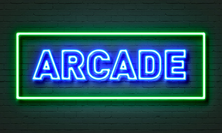 Arcade neon sign on brick wall background
