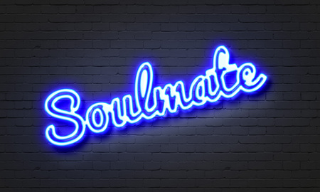 soulmate: Soulmate neon sign on brick wall background