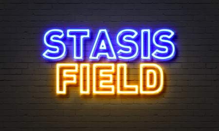 stasis: Stasis field neon sign on brick wall background Stock Photo