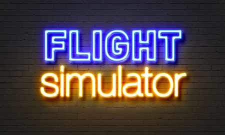 simulator: Flight simulator neon sign on brick wall background