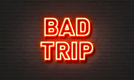 mdma: Bad trip neon sign on brick wall background Stock Photo