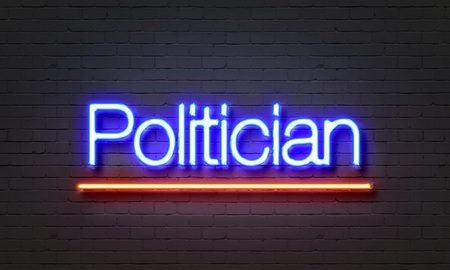 Politician neon sign on brick wall background Stock Photo