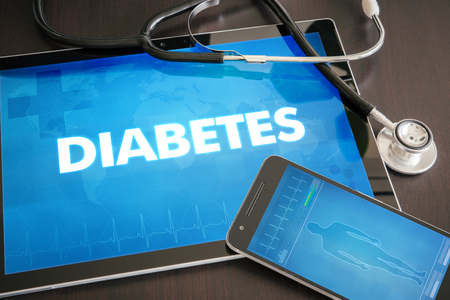 pineal: Diabetes (endocrine disease) diagnosis medical concept on tablet screen with stethoscope.