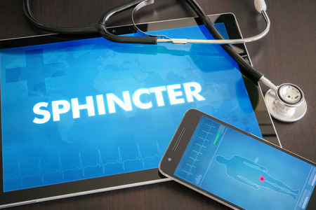 sphincter: Sphincter (gastrointestinal disease related body part) diagnosis medical concept on tablet screen with stethoscope.
