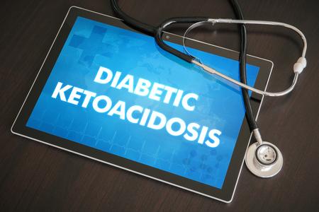 Diabetische ketoacidose (endocriene ziekte) diagnose medisch concept op het tabletscherm met stethoscoop.