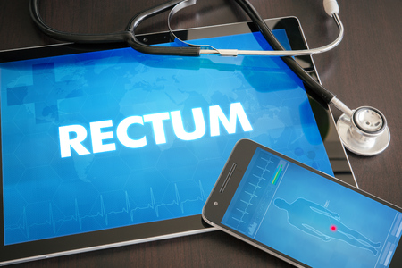 rectum: Rectum (gastrointestinal disease related body part) diagnosis medical concept on tablet screen with stethoscope.