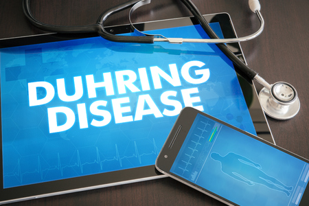 oncept: Duhring disease (cutaneous disease) diagnosis medical oncept on tablet screen with stethoscope.