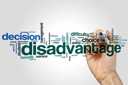 disadvantage: Disadvantage word cloud concept Stock Photo