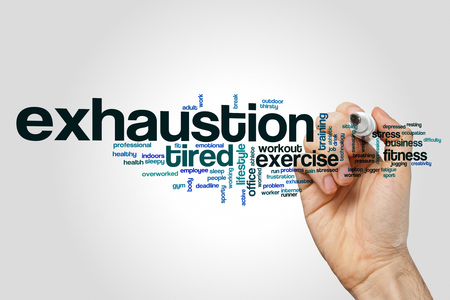 exhaustion: Exhaustion word cloud concept Stock Photo