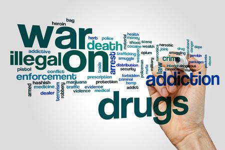 evidence bag: War on drugs word cloud concept