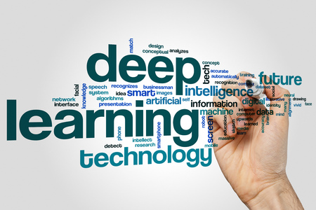 recognizes: Deep learning word cloud concept Stock Photo