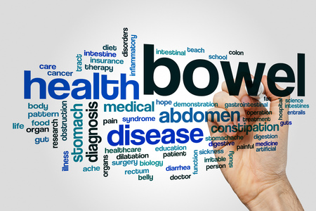 intestinal cancer: Bowel word cloud concept Stock Photo