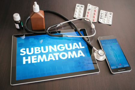 Subungual hematoma (cutaneous disease) diagnosis medical concept on tablet screen with stethoscope. Stock fotó