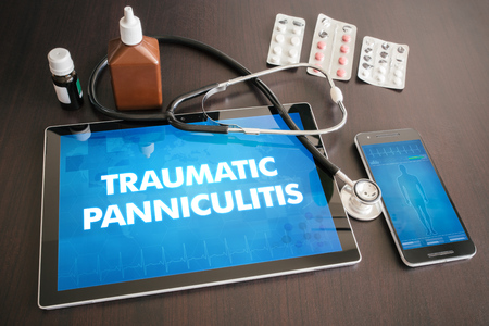 Traumatic panniculitis (cutaneous disease) diagnosis medical concept on tablet screen with stethoscope.