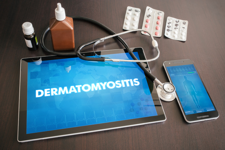 Dinamo (cutaneous disease) diagnosis medical concept on tablet screen with stethoscope.