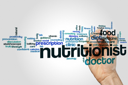 dietology: Nutritionist word cloud concept on grey background