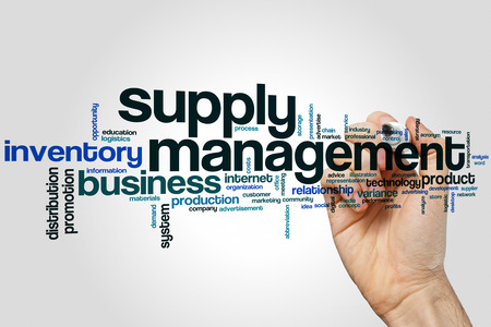 Supply management word cloud concept on grey background Banco de Imagens