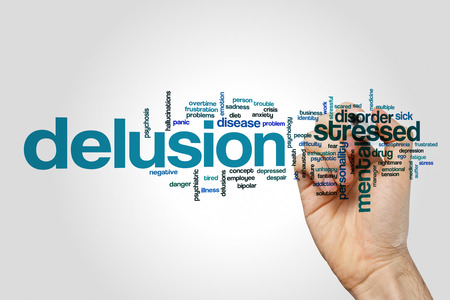 delusion: Delusion word cloud on grey background. Stock Photo