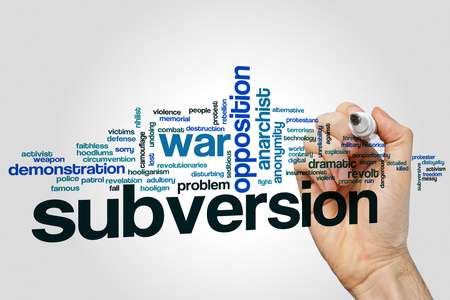 Subversion word cloud concept on grey background