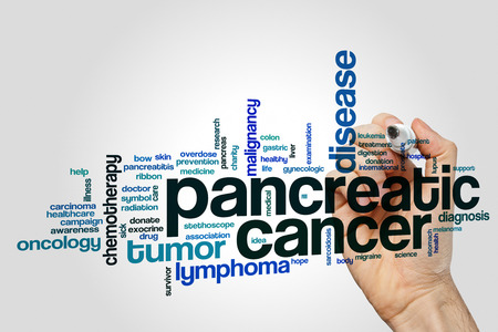 pancreatic cancer: Pancreatic cancer word cloud concept on grey background