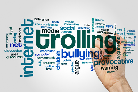 Trolling word cloud concept on grey background