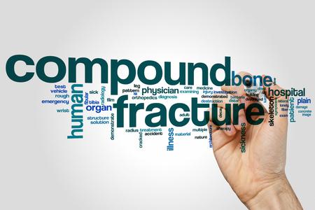 distal: Compound fracture word cloud concept on grey background. Foto de archivo