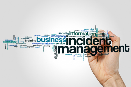 Incident management word cloud concept on grey background