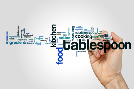 Tablespoon word cloud concept on grey background