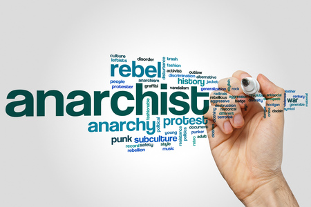anarchism: Anarchist word cloud concept on grey background.